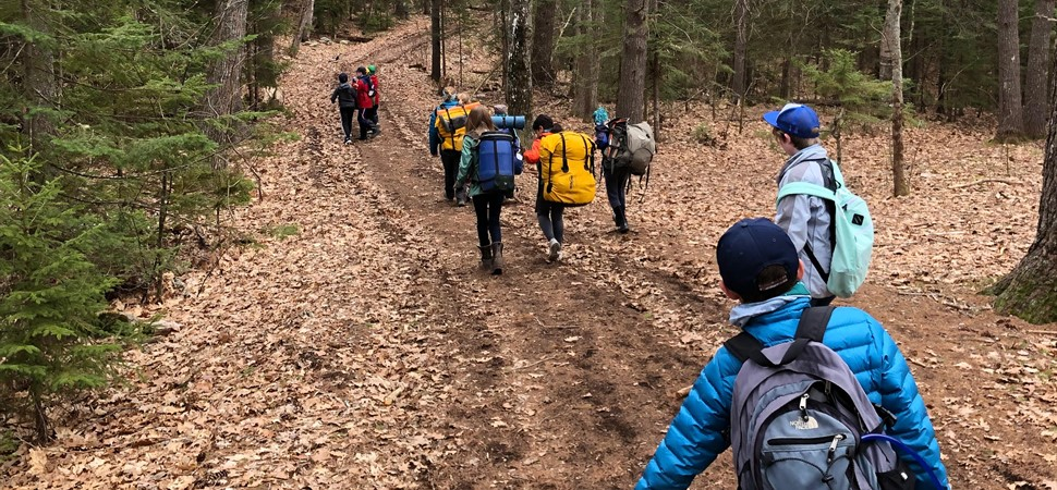 MLS-5th Grade Students Carry Gear to Campsites at Chewonki