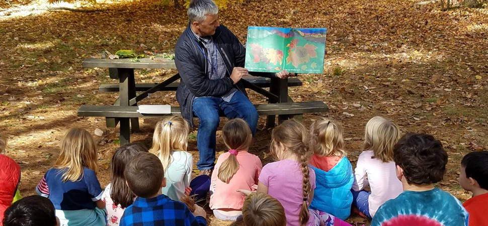 Reading with Mr. Whiting at Bradbury Mountain