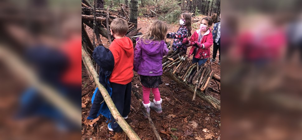 Kindergarteners at work in their Outdoor Classroom
