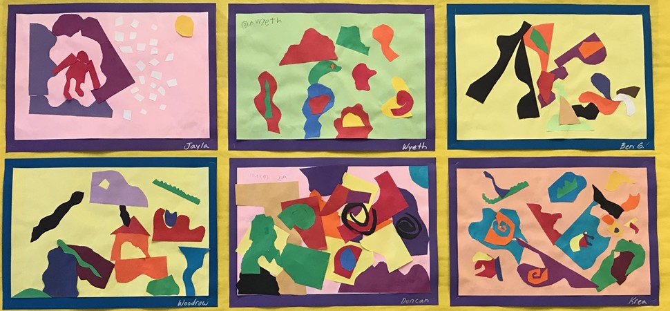 Second grade artwork display.