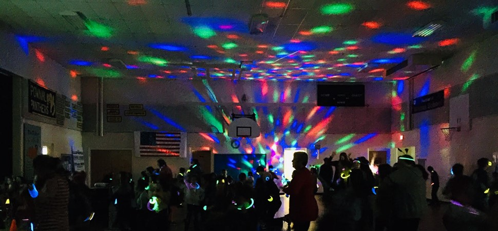 PES glow-in-the-dark dance party celebration